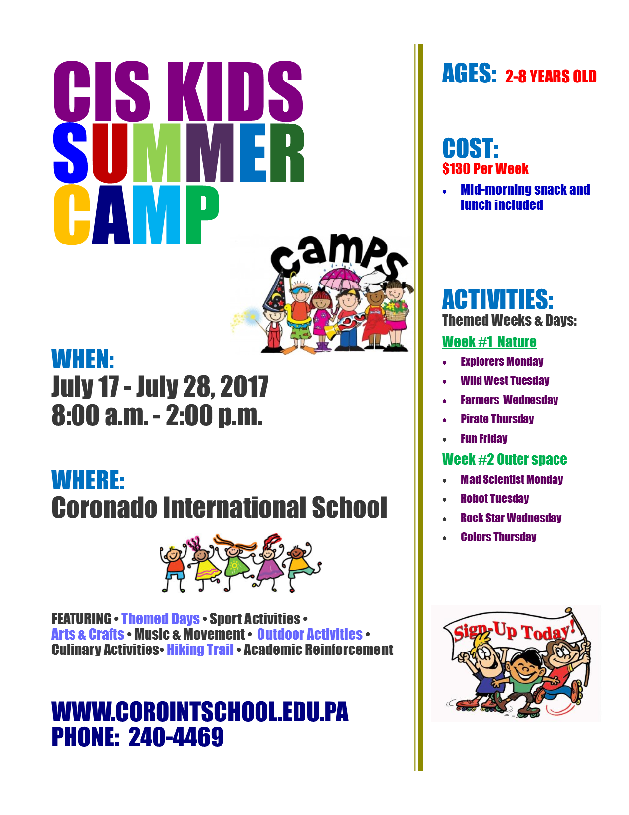 summer camp flyer - english 2017